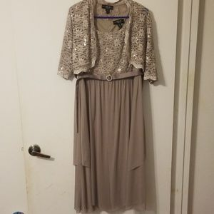 Tan color prom dress with bling